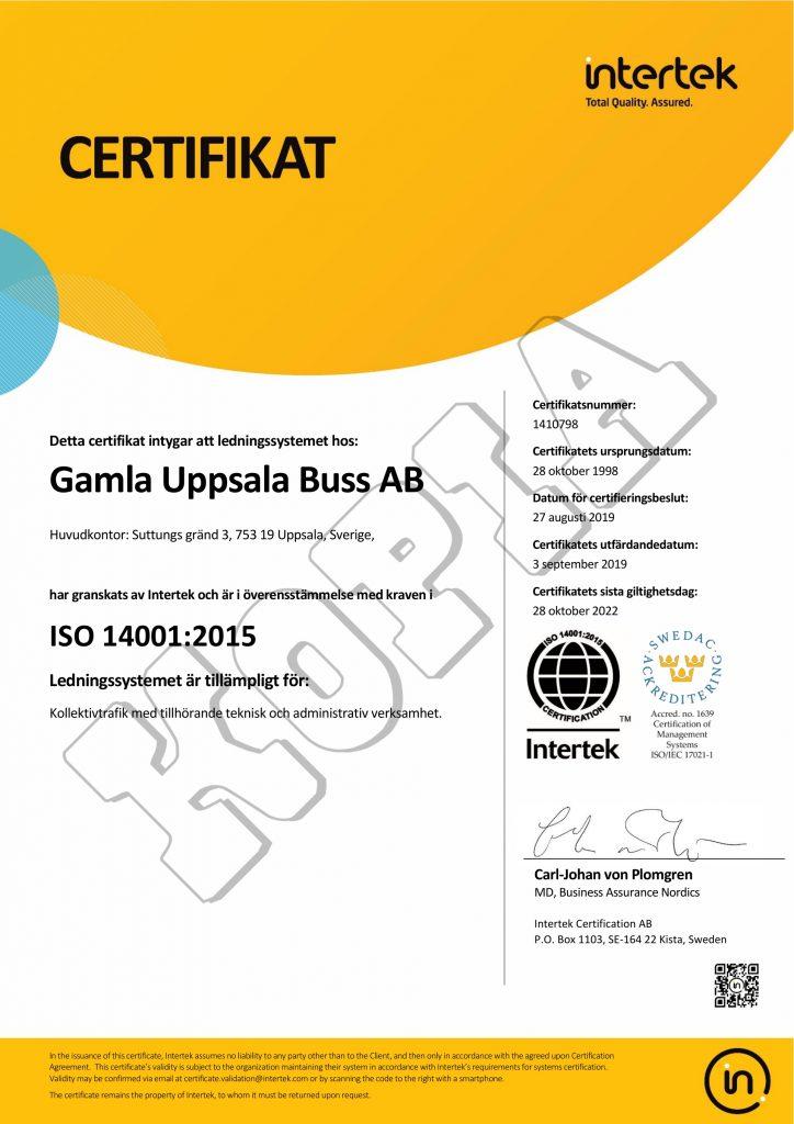 GUB:s ISO 14001-certifikat