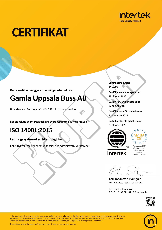 GUB ISO 14001-certifikat
