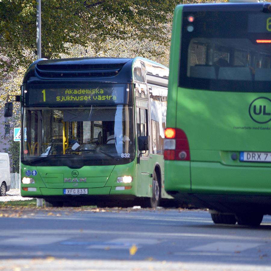 Busstrafik med miljövänliga gröna stadsbussar